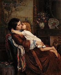 """Auguste Toulmouche (French, 1829-1890) Maternal Affection (Mother and Child) Signed """"A. TOULMOUCHE."""" c.r., inscribed """"A. TOULMOUCHE""""..."""
