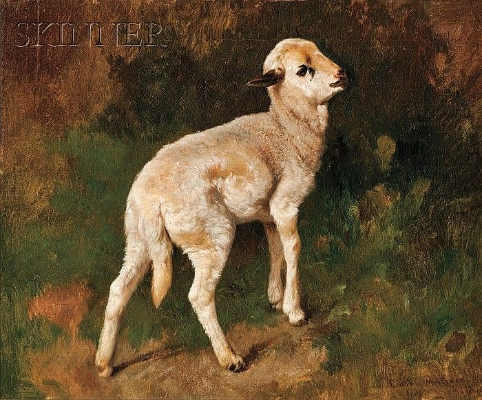 Adolf Ernst Meissner (German, 1837-1902) The Little Lamb Signed and inscribed