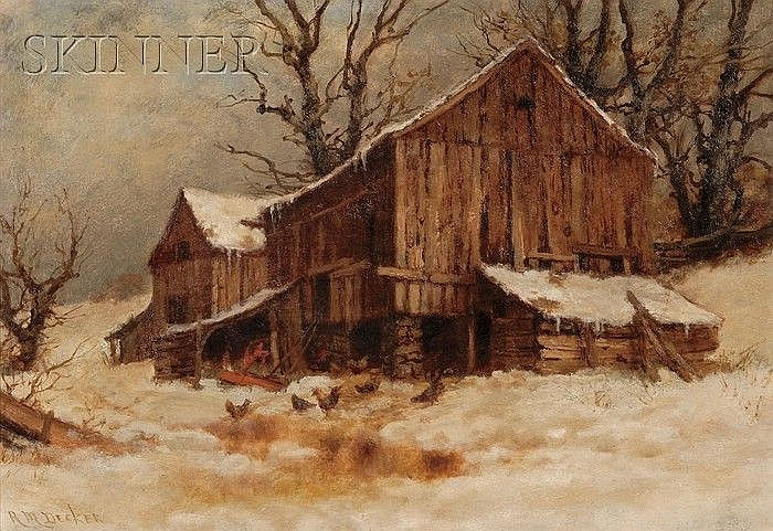 Robert Melvin Decker (American, 1847-1921) The Old Barn After a Thaw Signed