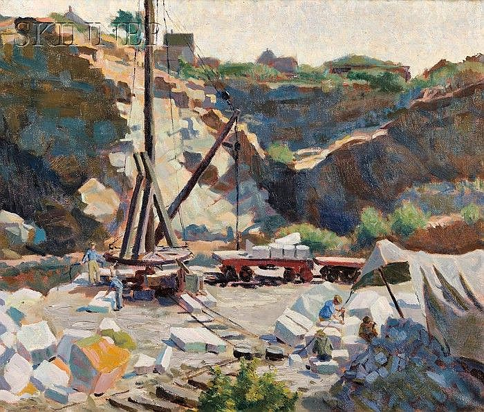 """Agnes Anne Abbot (American, 1897-1992) Rockport Quarry, 1923 Signed, inscribed, titled, and dated""""Agnes Abbot/Harvard, Mass./Rockpor..."""
