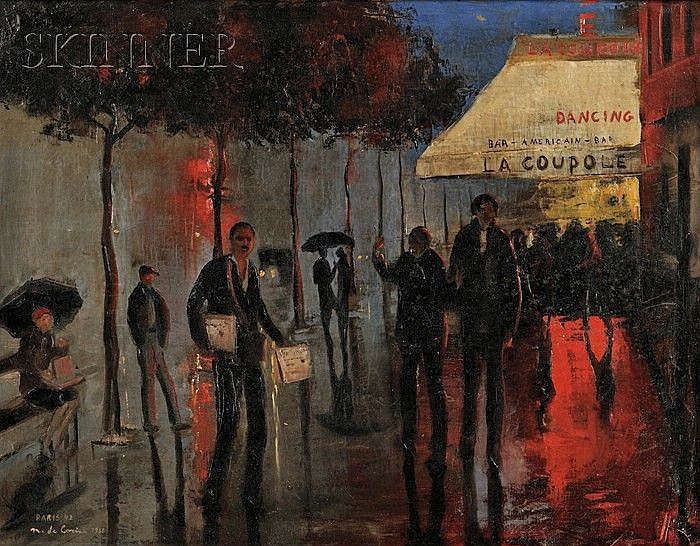 Marguerite de Corini (Hungarian, 1897-1982) View of Paris Cafes, Night Signed, inscribed, and dated