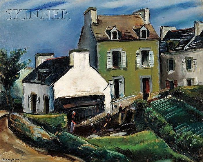 Rudolf Jacobi (German, 1889-1972) View of a Breton Village Signed
