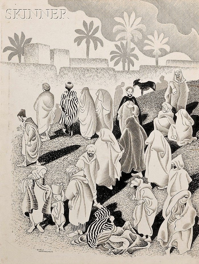 Boris Artzybasheff (Ukrainian/American, 1899-1965) Souk-el-Kheimis/A Double-page Illustration from Behind Moroccan Walls Signed