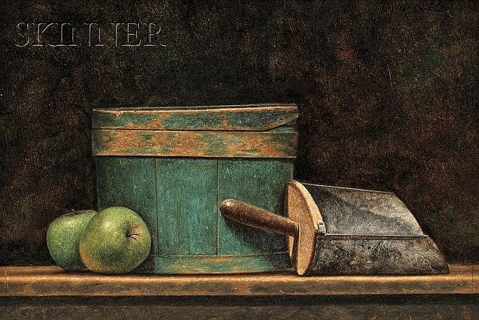 David Brega (American, b. 1948) Still Life with Apples, Box, and Scoop Signed