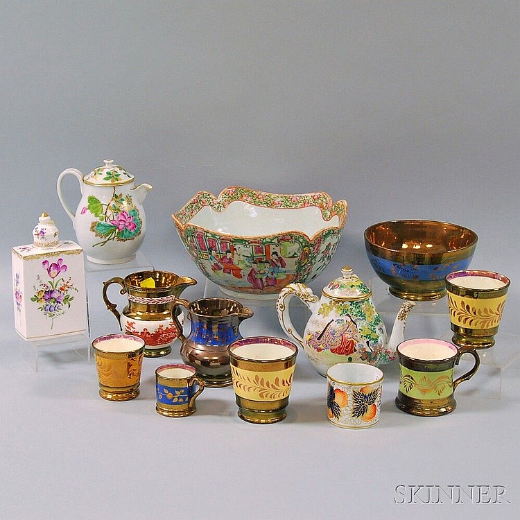 Thirteen British and Asian Ceramic Items, including copper lustre bowl, three mugs, two tumblers, with floral decoration, and a milk ju