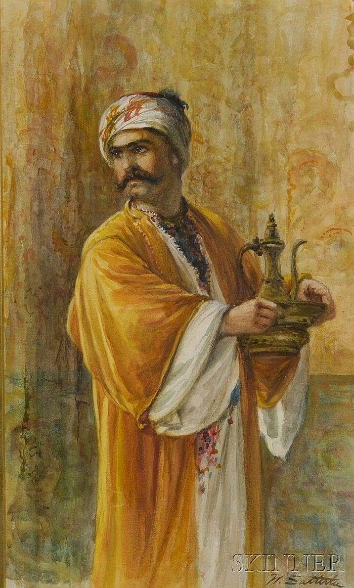 Walter Satterlee (American, 1844-1908) Arab Man with Ewer and Basin Signed