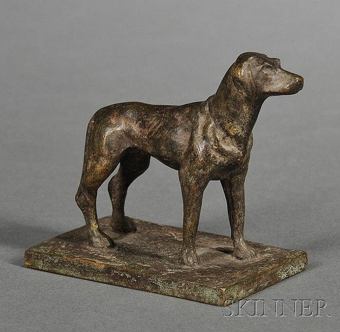 Paul Edouard Dreux (French, 1855-1947) Bronze Figure of a Hound, the dog modeled standing, mottled brown/green patina, incised sign...