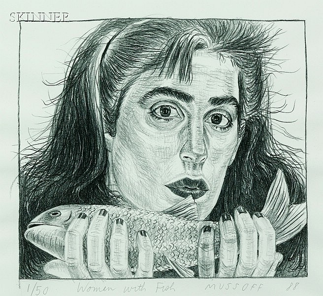 Jody Mussoff (American, b. 1952) Lot of Two Works: Woman with Fish, 1988 and Two Women, One Bo...