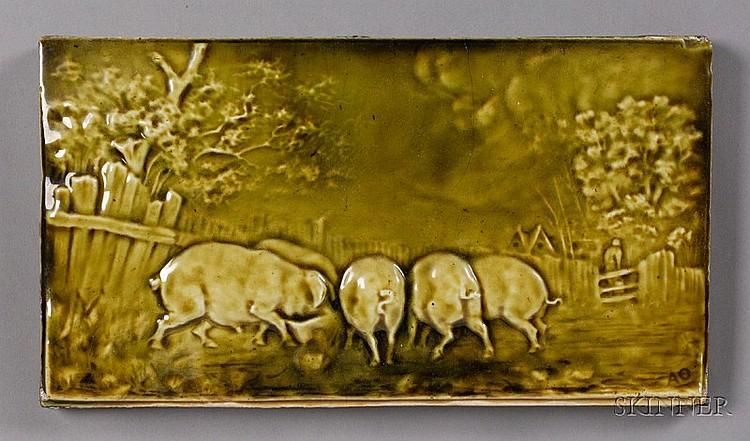 , Tile: Arthur Osborne for J. & J.G. Low Tile Works, Glazed earthenware, Rectangular tile depicting pigs feeding in olive green glaze w