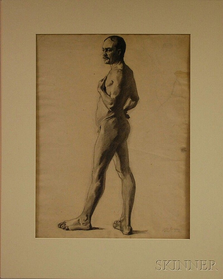 John Robinson Frazier (American, 1889-1966) Academic Study of a Male Nude. Bears signature and inscription
