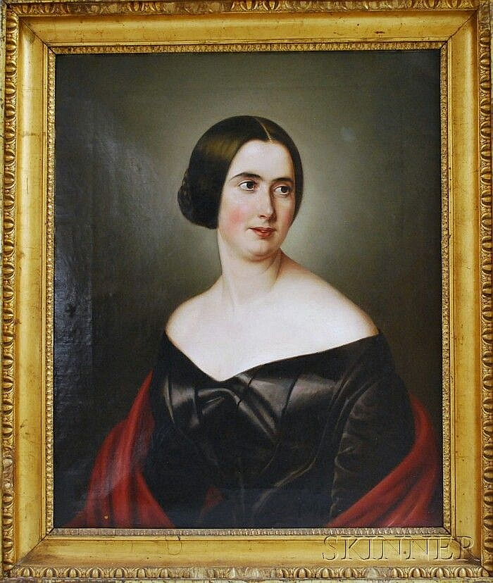 Attributed to Franz Schrotzberg (Austrian, 1811-1889) Portrait of a Woman. Unsigned, identified on a label on the reverse. Oil on canva