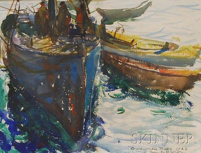 John Robinson Frazier (American, 1889-1966) Beachcomber Ball 1922/Moored Boats. Signed