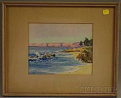 """Attributed to Charles Arthur Dunn (American, 1867-1949) Coastal Landscape. Signed """"CA Dunn"""" l.l. Watercolor on paper, sight size 7 x 8"""
