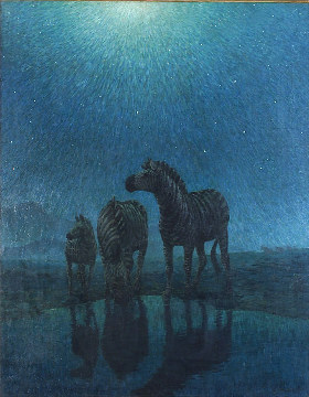 A. Radclyffe Dugmore (American, 1870-1955) Zebras Grazing in the Moonlight Signed and dated