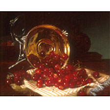 Robert Spear Dunning (American, 1829-1905), Cherries/A Still Life with Self Portrait Reflected in