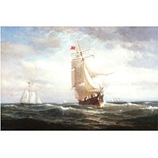 Lemuel D. Eldred (American, 1848-1921), Entering Boston Harbor. Signed and dated