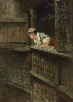 Alexandre-Louis Leloir (French, 1843-1884) At the Balcony Signed