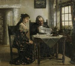 Adrien Jean Madiol (Dutch, 1845-1892) The Morning News Signed and dated