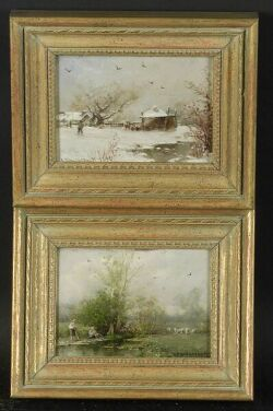 Du Bois Fenelon Hasbrouck (American, 1860-1934) Lot of Two Landscapes: Summer and Winter Each signed and dated