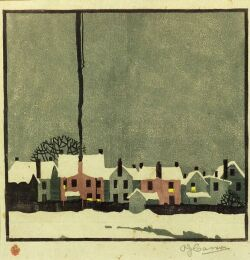 Lot of Two Color Woodcuts: Alfred Joseph Casson (Canadian, 1898-1992), Winter Village, edition of