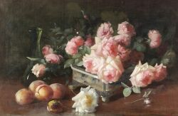 Frederick M. Fenetti (American, 1854-1915) Still Life with Roses and Peaches Signed