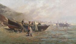Milton J. Burns (American, 1853-1933) Fisherfolk Signed
