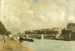 Pierre Louis Leger Vauthier (French, 1845-1916) Along the Seine Inscribed, dated and signed