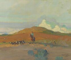 Allen Gilbert Cram (American, 1886-1947) Cattle Country Signed