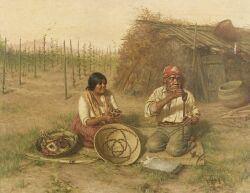 Grace Carpenter Hudson (American, 1865-1937) The Basket Weavers Signed and dated
