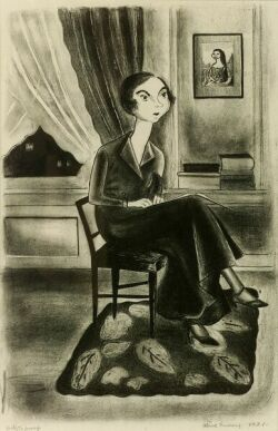 Aline Fruhauf (American, b. 1907) Lot of Two Prints: Woman Reading, 1931, lithograph; Space for