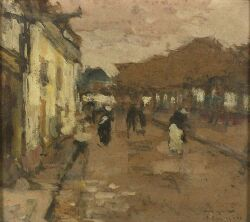 Ferdinand-Jean Luigini (French, 1870-1943) Paris Street Scene Signed and inscribed