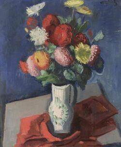 Alfred Justitz (Czechoslovakian, 1879-1934) Still Life with Mums Signed