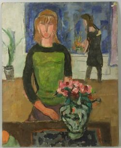 Gerrit Hondius (American, 1891-1970) of Two Works Including: Girl with a Vase, 1965 and Two Ladies...  Both signed