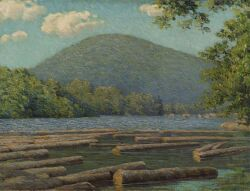 Edward Herbert Barnard (American, 1855-1909) Logging in New Hampshire Signed