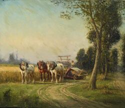 Charles H. Clair (French, 1860-1930) Working the Fields Signed