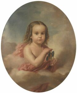 Constantino Brumidi (American, 1805-1880) Young Girl with Golden Curls Signed or inscribed and