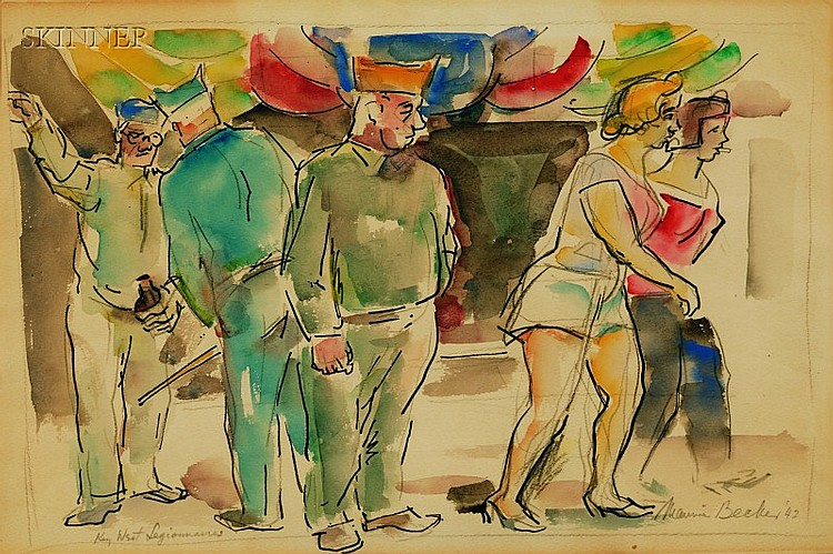 Maurice Becker (American, 1889-1975) Key West Legionnaires Signed and dated