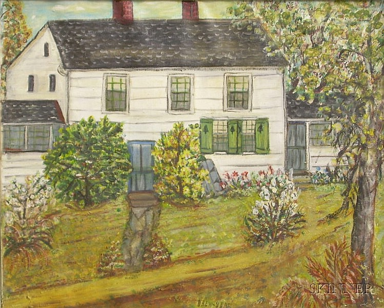 Framed Oil on Canvas View with White House by Drew-Bear (American, 1877-1962), nee Jessie Henderson, inscr...