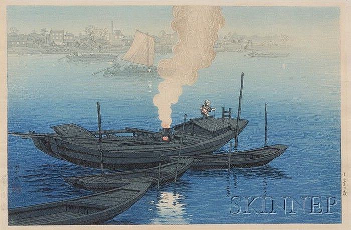Ito Takashi: Fishing Boat in Harbor, c. 1930, (fine impression, color and condition), framed.