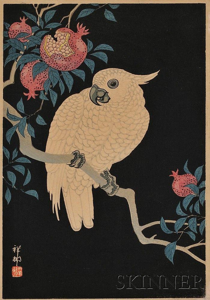 Ohara Shoson: Cockatoo with Pomegranate, chuban, c. 1930, signed and sealed Shoson, (fine impression, color and condition), framed.