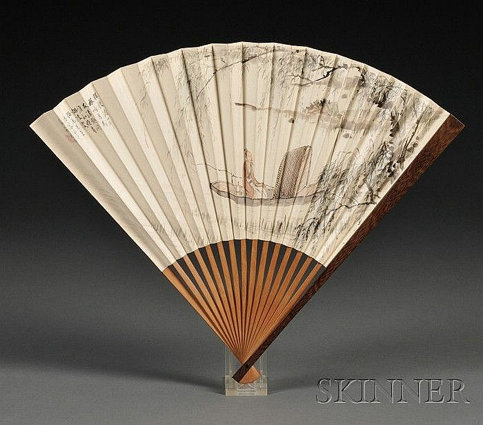 Fan Painting, Wu Guandai (1862-1929), ink and colors on fan, depiction of a scholar boating in a creek under willow trees, dedicated...