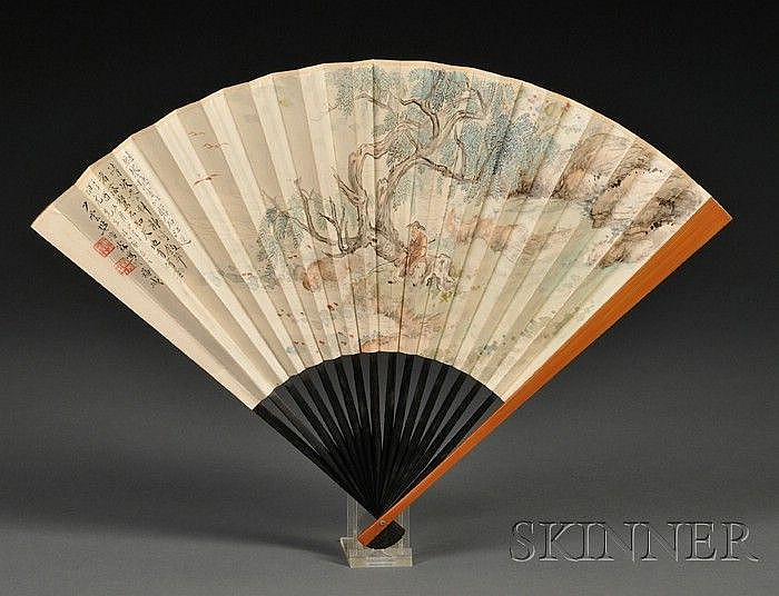 Fan Painting, Fan Haolin (1885-1962), and Lv Jingduan (1859-1930), ink and colors on fan, recluse fishing near a creek, dedicated to...