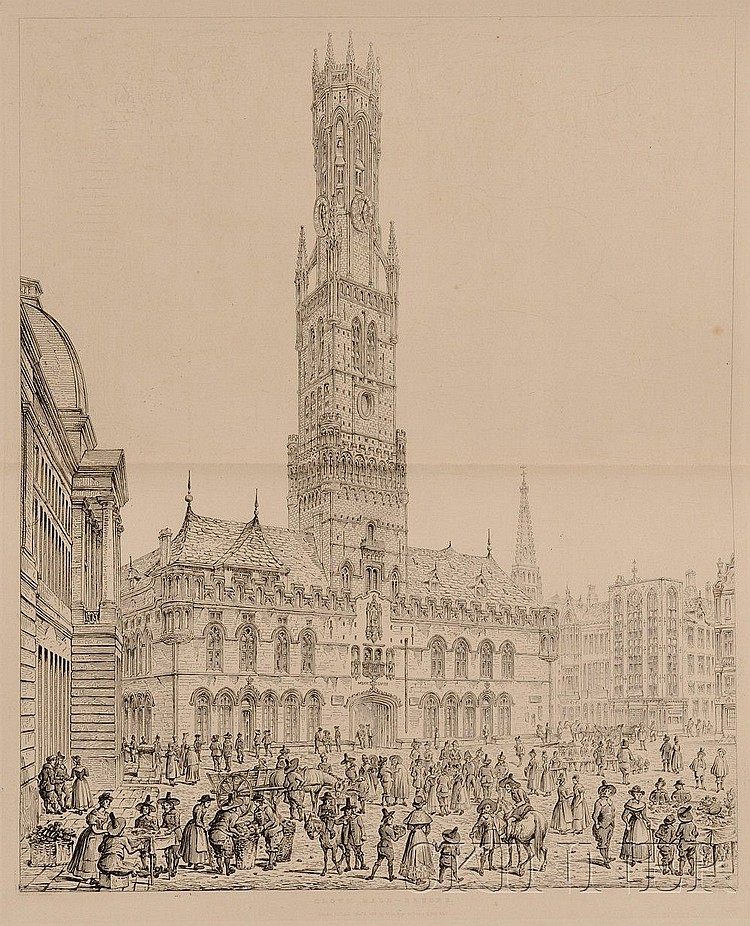 (Cathedrals and Public Buildings, European), Coney, John (1786-1833), Engraving of Ancient Cathedrals, Hotels de Ville and Other Public