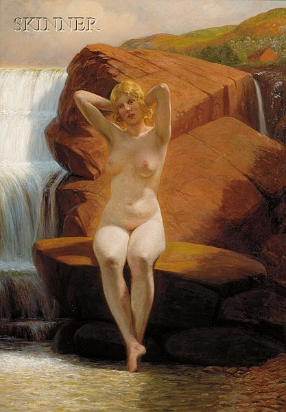 Vilhelm Pacht (Danish, 1843-1912), Portrait of a Nude by a Waterfall, Signed and dated