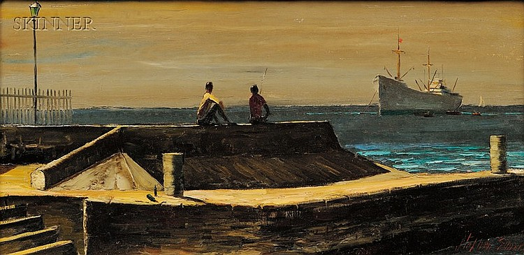 Stephen Morgan Etnier (American, 1903-1984), New Arrival/ A View of Bridgetown, Barbados B.W.I., Signed