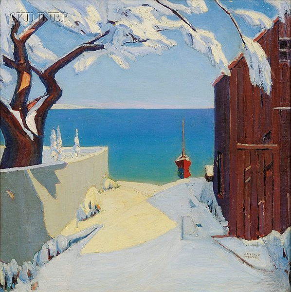 Heinrich Herman Pfeiffer (American, 1874-1960), Early Snow, Cape Cod, Signed