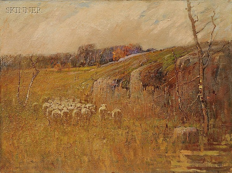 Charles Edwin Lewis Green (American, 1844-1915), View with Sheep/A Landscape Sketch, Unsigned, identified on a label inscribed
