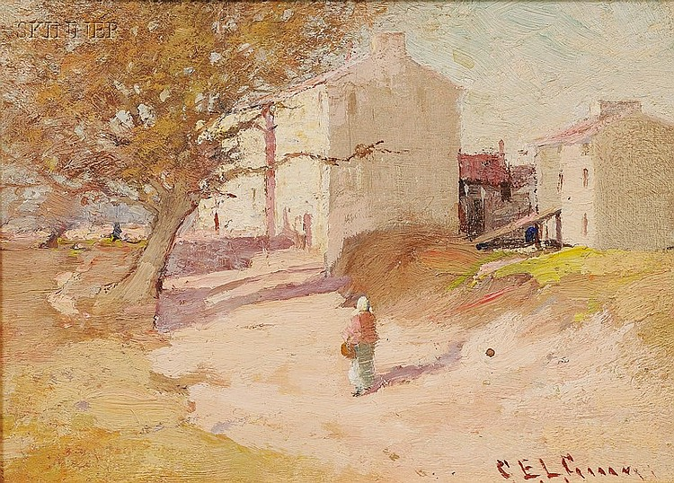 Charles Edwin Lewis Green (American, 1844-1915), Village Scene, Signed or inscribed