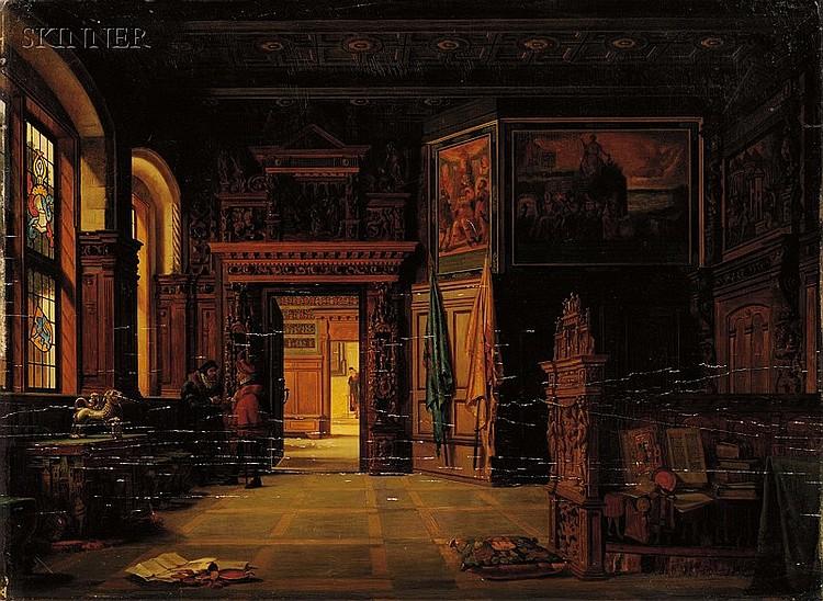 Heinrich Anton Heger (Danish, 1832-1888), Baroque Interior Scene, Signed