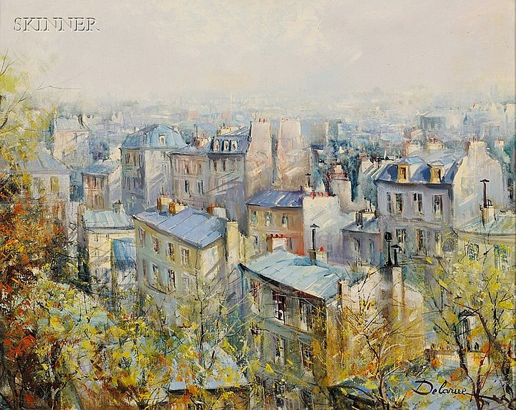 Lucien Delarue (French, b. 1925), Rooftops in Autumn, Signed